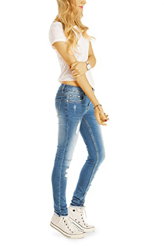 Bestyledberlin Damen Röhrenjeans, Used Look Skinny Fit Jeans, Sehr enge aufgerissene Jeans j46k Light Blue