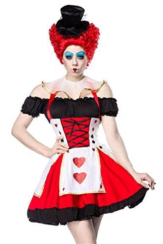 Fasching-Kostüm `Herzkönigin` mit stilechten, glitzernden Kartensymbolen 5-TLG. Set: Kleid, Petticoat, Hut, String, Halskrause - A14346, ()