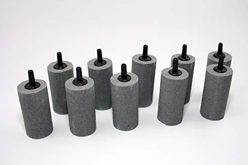 Osaga 10 x Luftausströmer 2,5 x 5 cm für Aquarium und Teich gesintert Zylinder Luftstein Sauerstoffstein Sprudler