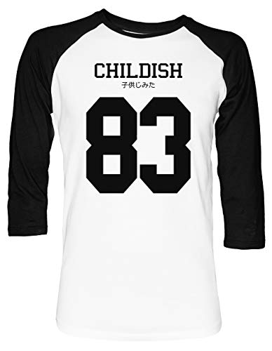 Childish Jersey Unisex Baseball T-Shirt 2/3 Ärmel Herren Damen Weiß Schwarz - Lil Shirt Wayne Rosa