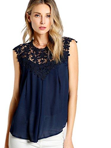 ROMWE Damen Elegant Ärmellos Chiffon Bluse mit Blumen Spitze Shirt Oberteil Bluse Marineblau S