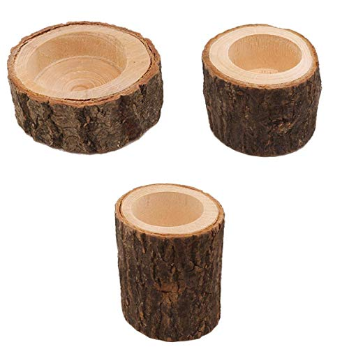 LOVIVER 3x Holz Kerzenhalter Kerzenständer Teelichthalter für Hochzeit Weihnachten