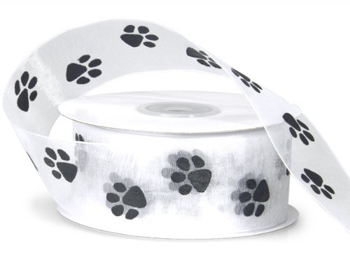 Sheer White Organza Ribbon with Black Paw Prints 1 1/2