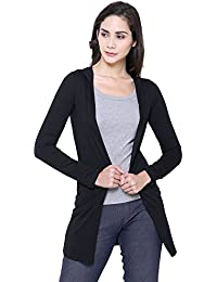 COA Womens Solid Black Warm HUGS Organic Cotton Hoodie Shrug for Women with Front Open