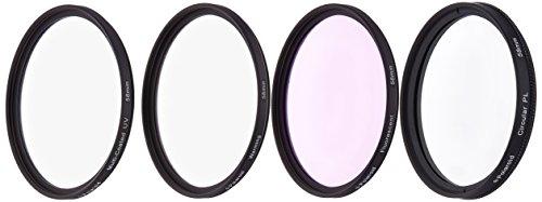 Polaroid 58mm HD Mehrfachbeschichteter / Multicoated Glass 4-Stück-Filterset (UV, CPL, FDL, Warm Filter, Nylon Filtertasche)