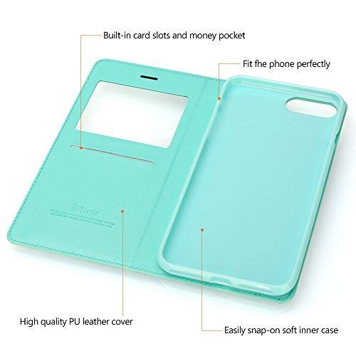 iPhone 7 Hülle, IPHOX PU Leder Tasche für iPhone 7 Handyhülle im Bookstyle mit Magnet Kartenfächer Handschlaufe Standfunktion, Grün/ Blau Light Green/W