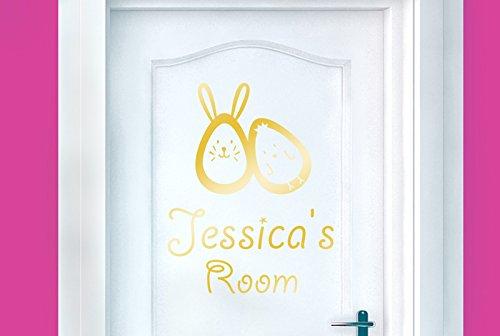 Bunny Hase Ei und Chick Kinder Tür Zimmer Sticker Art Aufkleber–Glänzend Gold (Höhe 54cm x Breite 40cm)