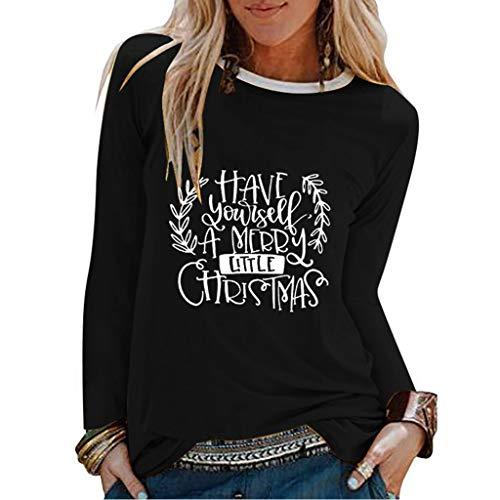 yazidan Damen Weihnachten Langarmshirt Briefdruck Pullover Langarm Rundhals Christmas T-Shirt Tops Bluse Jumper Weihnachtspullover Oberteile