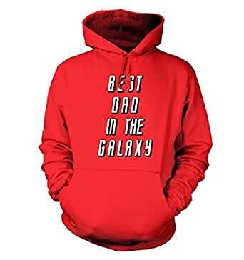 """Best Dad In The Galaxy Hoodie - Fire Red Large (44"""" Chest)"""