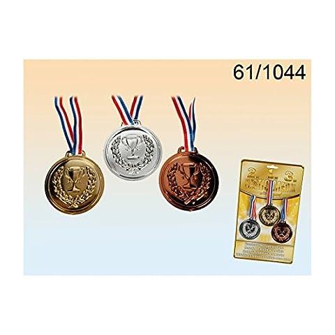 3 Kunststoff-Medaillen mit Band -