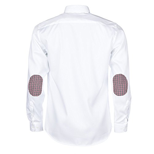 ALLBOW Smart Weiß Regular Fit Herren Hemd Ellenbogen Patches, Verschiedenen Farben, 100% Baumwolle Rot/Weiß