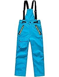 DianShaoA Pantalones De Esquí para Niños Pantalones De Babero Traje De Nieve Impermeable para Deportes Pantalón De Esquí Cremallera En El Tobillo Y Tirantes Desmontables