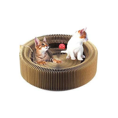 YSYW Cat Scratcher Lounge Plegable De Cartón Scratcher Toy con Tinkle Ball Catnip Portable De Alta Densidad Reciclado Corrugado Gatito Gato Turbo Juguetes