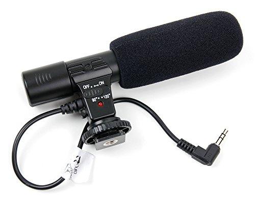 DURAGADGET Richt-Mikrofon Stereo-MIC mit Standardgewinde (3.5mm) für Nikon D850 Spiegelreflexkamera und Panasonic Lumix DC-GH5S SLR
