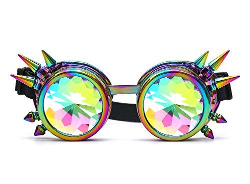 AFUT Spitz Gitter Kaleidoskop Brille Prisma Steampunk Kristall SBunte Rahmen