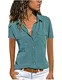 d80ff5e0d09 ITISME Femme Ete Mode Top à Manches Court à Rayures Chemise Top Blouse T- Shirt