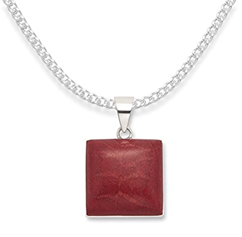 Sterling Silver Red Sponge Coral pendant on 16