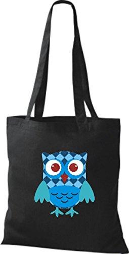 niedliche mit Retro schwarz Bunte ShirtInStyle Punkte Karos Farbe Eule diverse Jute streifen Tragetasche Owl Stoffbeutel 1AqIY