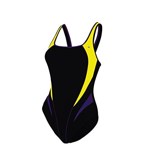 Aqua Sphere - Lita Maillot de bain pour femme - Noir (Black/Bright Yellow) - FR: 42 (Taille Fabricant: 36/ DE: 40)