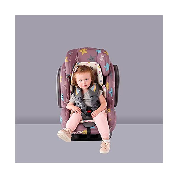 Cosatto Hug Isofix Car Seat Group 123, 9-36 kg, Happy Stars Cosatto Suitable from 9 kg-36 kg (9 months - 12 years approximatelyimately), Hug ISOFIX is an investment; it fits forward-facing in most cars with standard ISOFIX connectors and top tether anchor point The exclusive Five Point Plus Anti-Escape system deters determined wrigglers and diminishes driver distraction; it features extra-cushioned side impact protection for in-car security Impact protection for in-car security Hug ISOFIX has fabrics, a height-adjustable headrest and reclining padded seat for on-board comfort, plus easy-clean pop-off covers and liner to help you out 6