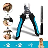DAOXU Krallenschere, Profi Krallenschere Hund Katze Krallenzange mit Schutzvorrichtung, Sicherheitsverschluss und Nagelfeile, perfekt Pfotenschere für kleine, mittelgroße & große Hunde und Katzen