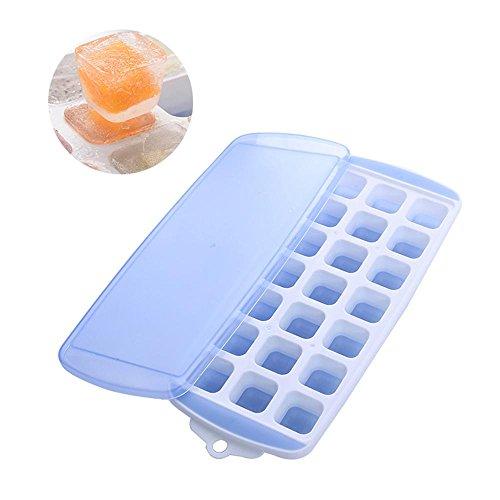 KOBWA Eiswürfelbehälter mit Deckel, Eiswürfelbereiter, Flexibler Eiswürfelbereiter in Lebensmittelqualität für Bonbonpuddingform, Babynahrung, Whiskey und Cocktail
