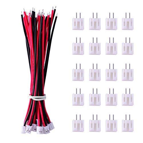 20 Stück Micro JST PH 2.0 2-Pin Stecker und 20 Stück 10 cm Rot und Schwarz Silikon Kabel Draht mit Buchse