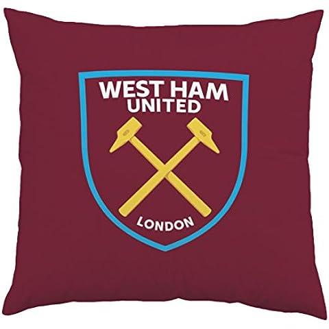 West Ham United FC con Stemma del West Ham United, bordeaux, Cuscino, 35x 35cm, (Miller Cuscino Decorativo)