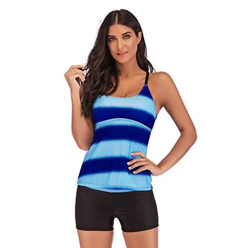 Tankini Damen Bademode Bauchweg Badeanzug Tankini Hotpants Frauen Plus Size Gradient Beachwear Badebekleidung Sport Zweiteiliger Swimmwear Mit High Waist Bikini Bottom -