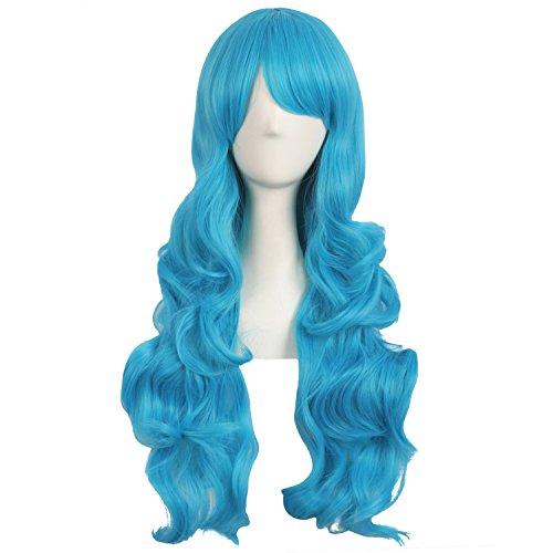 MapofBeauty 28 Zoll/70cm Seitenscheitel Pony Charmante Frauen Lange Lockige Volle Haar Gewellt Perücke (Cyan Blau) -