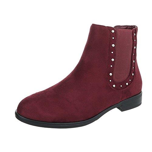 Chelsea Boots Damenschuhe Chelsea Boots Blockabsatz Blockabsatz Ital-Design Stiefeletten Weinrot