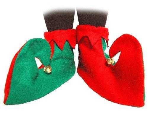 Elfen Schuhe Weihnachten Kostüm Zubehör Santa's Helfer Elfen Stiefel ()