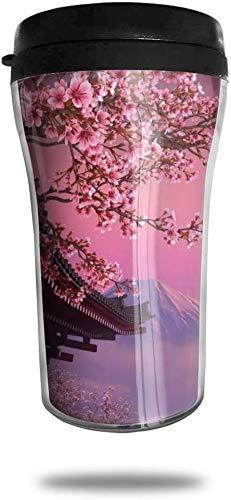 Japanische Kunst Buiding Travel Kaffeetasse 3D gedruckt tragbare Saugnapf, isolierte Teetasse Wasserflasche Becher zum Trinken mit Deckel 8,54 oz (250 ml)
