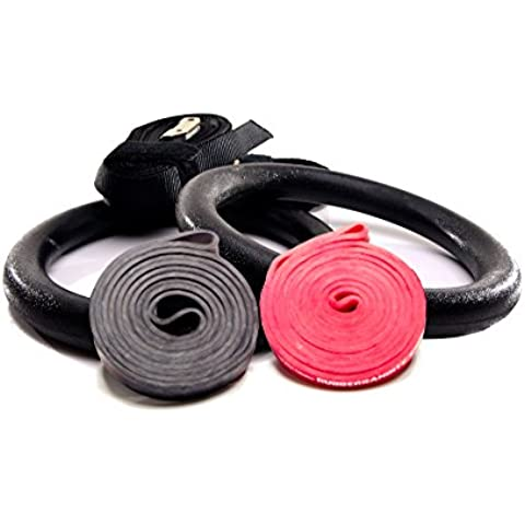 Rubberbanditz and Rings Kit - Medium, Heavy - 20 - 85 lbs (9 - 39 kg) Resistance - Includes set of (2) Competition-Grade CrossFit Black Gymnastics Rings + (2) 16 foot Woven Nylon Black Straps Max-Load 440 pounds (200 kg), (1) Medium #2 Red Pullup Band, (1) Heavy #3 Black Pullup Band With Combined Resistances of 20 - 85 Pounds (9 - 39 Kilograms)