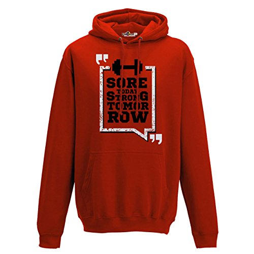 Sudadera capucha Hombre Cross Training STRONG Today Gimnasio Sport Entrenamiento, Fire Red, XX-Large