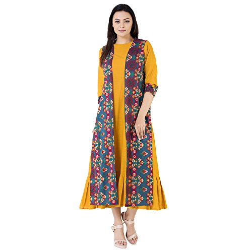 Khushal Cotton Printed Long Lenght Designer Dress With Seprate Jakit/Shrug, Anarkali Long...