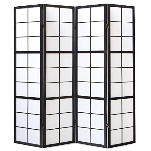 Homestyle4u 282  Paravent Raumteiler 4-teilig , Holz Schwarz, Reispapier Weiß, Höhe 175 cm