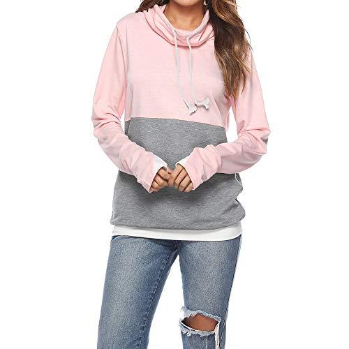 YEZIJIANG Damen Kontrastfarbe Pulli Pullover Rollkragen Sweatshirt Top Herbst Winter Damen Mode Langarm Sweatshirt Freizeit Stitching Jumper Pullover Loose Tops Blouse