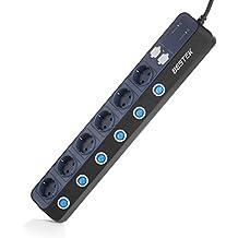 BESTEK Regleta Enchufes de 4 Smart USB y 6 Tomas con SPD 900J Protección contra Sobretensiones y Interuptor Individual, Alargador Ladron Pared, Base Múltiple, Tapón de Seguridad, 3600W/16A