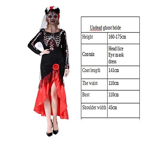(Wajsi Halloween-Kostüm Erwachsene Hexen Skelett Skelett Ghost Dress Horror Kleid Ghost Bride Cosplay Masquerade)