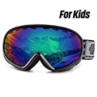 Snowledge Kids Ski Goggles, Youth Skiing Goggles Red, Double Spherical Lens with Anti Fog, 100% UV Protection, Helmet Compatible Snow Goggles for Teenagers Kids Boys & Girls (6-13 Years)