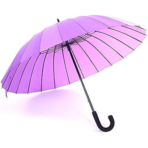 SSBY Paraguas manual 24, flor de agua sólido gancho paraguas creative color caramelo mujer literaria limpio largo paraguas , purple