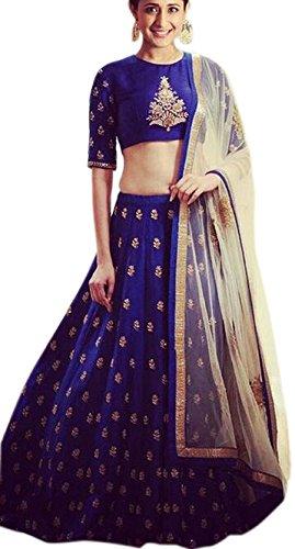 JULEE Women Cotton Silk Lehenga Choli(Lavm2101-J1_Blue_Free Size)