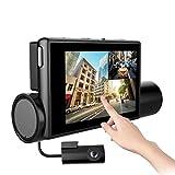 JPSTKER Dash Cam Telecamera per Auto Anteriore e Posteriore, WIFI Dash Camera FHD 1080P con visione notturna,170 ° Grandangolare, Touch Panel OLED da 3.0 Pollici, Registrazione in Loop, G-Sensor.