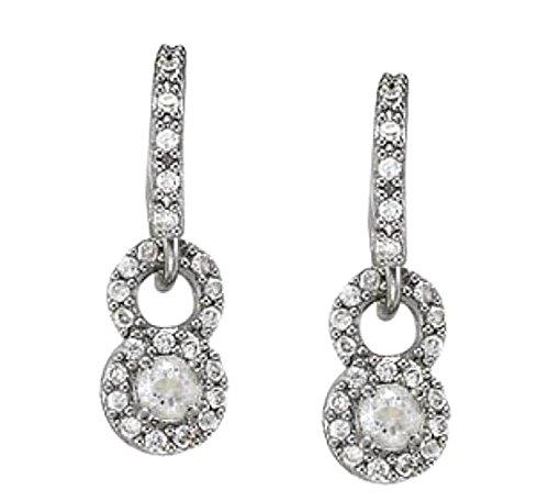 1,50 carati di diamanti tondi in oro bianco 14K ciondola gli orecchini a cerchio nuovo