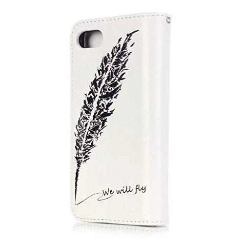 GR iPhone 7/8 Case-Premium PU-Leder-Mappen-Beutel-Kasten-Abdeckung mit Multi Card Slots und Kickstand ( Color : E ) D