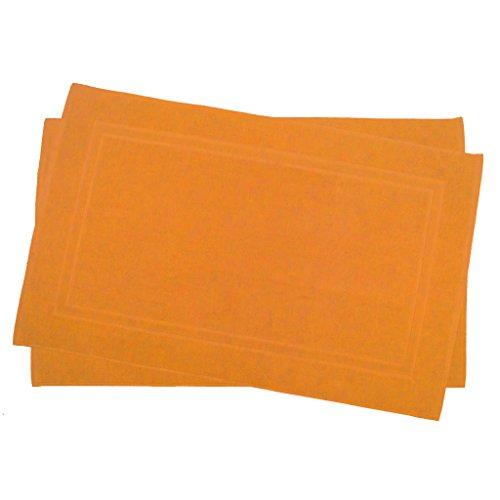 Julie Julsen 2er Pack 60 x 100 cm Badvorleger in Premium Qualität 900 gm2 in aktuellen Farben und 4 Größen aus Baumwolle Badematte Badteppich Duschvorleger Design Doppel Rahmen Orange