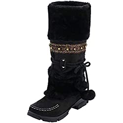 ZARLLE_Botas Botas Mujer Invierno,ZARLLE Mujer Nieve Bota Nylon Corto Nieve Lluvia Caliente Impermeable Botas de Gamuza Bola Borla de Punta Redonda Zapatos de tacón Caliente Cremallera