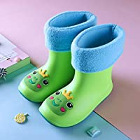 LYXFZW,Rain Boots For Kids,girls,Rubber Wellington Boots Soft Socks Waterproof Non-Slip Children Boys Easy Wipe Outdoor Green Frog Cute For School Garden Fashion Removable
