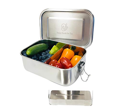 Happy Goods Eco Brotdose Edelstahl 800ML - ideal für Kinder - Flexibler Abtrennung - Auslaufsicher und Hochwertiger Schnappverschluss - Umweltfreundlich und BPA- & Plastikfrei